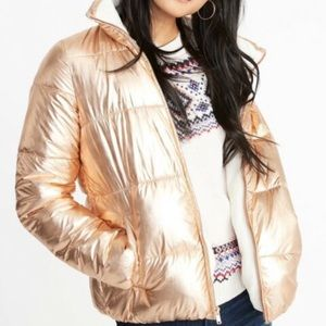Old Navy | Rose Gold Flannel Lined Puffer XL